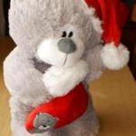Мишка  в колпачке с носком, мягкая игрушка 35 см